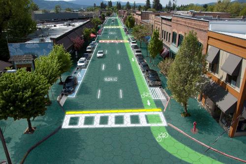 Mögliche Solarstraße als Animation