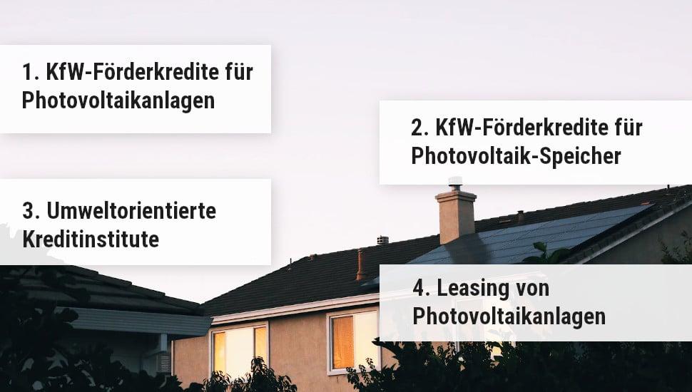 Arten der Finanzierung von Photovoltaikanlagen
