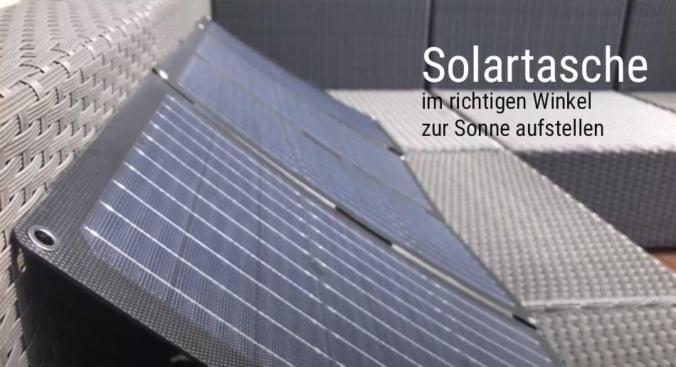 Solartasche - Aufstellwinkel beachten